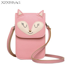 XZXBBAG Cute Animal Fox Cat Mouse Women Messenger Bags Girl Mini Pouch Students Long Crossbody Case Cartoon Shoulder Bags XB137(China)