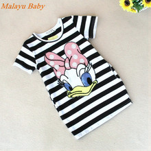 Malayu Baby 2016 explosion models girls short-sleeved summer dress Donald Duck, little rabbit striped mini dress cartoon 2-7 Y(China)