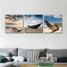 Wall Art Pictures HD Prints On Canvas Home Decor As Gift Wall Decor For Living Room Artical Boat Stopped On The Sand Land