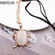 BOBFELOU free shipping Milky white turtle metal frame shape zircon beads style Necklace for women collar pendant Jewelry