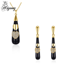 HIYONG Brass Resin Jewelry Set for Women Heart Shape Round Rhinestone Long Water Drop Pendant Necklace Set Earring pendientes(China)