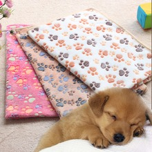 Dog Mat Cute Floral Cat Warm Paw and Bone Print Dog Cat Puppy Fleece Soft Pet Blanket Sleep Warm Beds Mat for Dogs S,M,L 6 Color