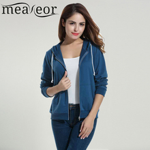 Meaneor Brand Lady Sweater Coat Women Active Casual New Spring School Style Full Zip Cardigan Solid Slim Hooded Sweater shirt(China)