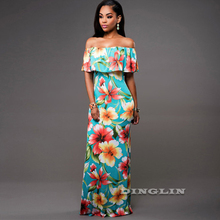 GZDL Sexy Ruffles Women's Floral Printed Dress Strapless Short Sleeve Off Shoulder Elegant Milk Silk Party Maxi Dresses CL3289