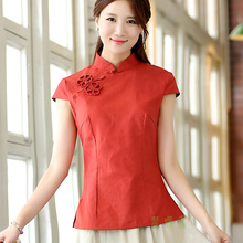 Shanghai Story chinese style top tradition chinese cheongsam top traditional Chinese Top Linen blouse top 5 color