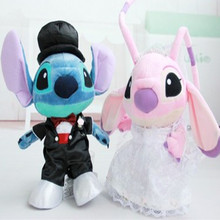 Free Shipping wedding Stitch plush toys, white wedding dress black suit Stitch doll, wedding car decoration gift baby toy