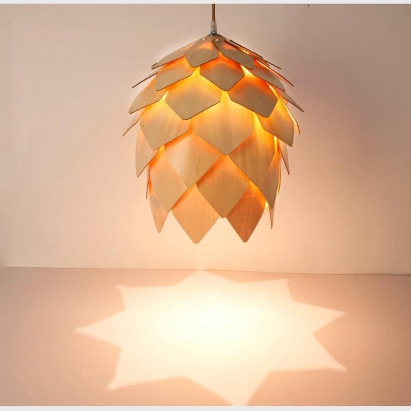 Modern Pendant Lights Lamp, Dinning Room Restaurant Modern Lighting, Pendant Pinecone Lamp Wood Lustres Luminaire<br>