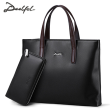 DEELFEL 2017 Fashion Leather Briefcase Men Handbags High Quality Men's Casual Totes Bag Laptop Messenger Bag Men's Bags(China)