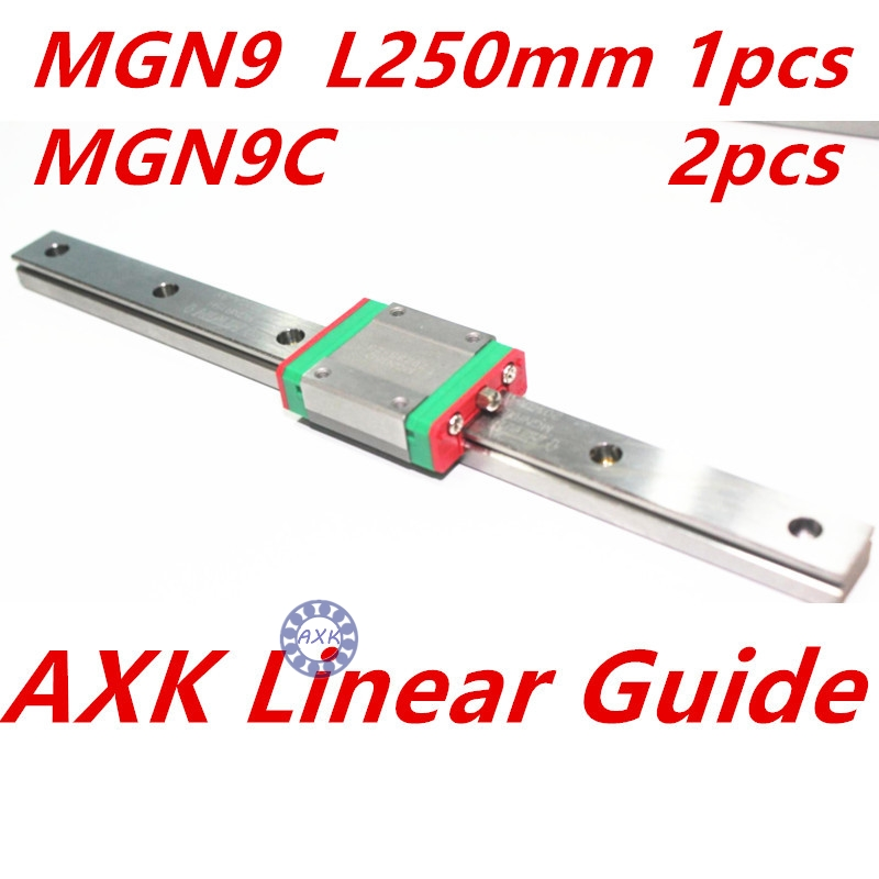 1pc 9mm width linear guide rail 250mm MGN9 +  2pc MGN MGN9C Blocks carriage for CNC<br>
