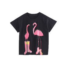 Kids Summer Sequins Shirts Girls Short Sleeve Cotton Tops Flamingo Swan Print Tees Children Clothing For Kids 2-6 Years 2 Design