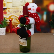 New Arrive Christmas Wine Bottle Cover Clothes Xmas Santa Snowman Table Bottle Decor Party s11(China)