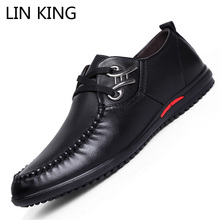 LIN KING Spring Casual Men Single Shoes Soft Leather Low Top Flats Office Client Shoes Lace Up Round Toe Business Man Shoes