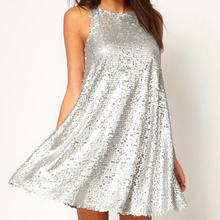 Womens Sexy Dresses Party Night Club Dress Sexy Dress Club Wear Iridescent Silver Sleeveless Sequin Bodycon Dress FS0423