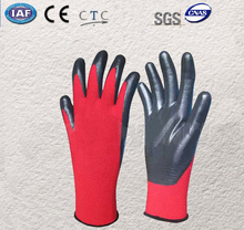 High Quality Safety Glove 7 Pairs Red 100% Nylon With Nitrile Dipped Work Glove