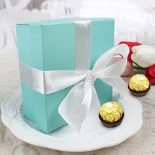50pcs Candy Box Wedding Favor Sweets Chocolates Turquoise Square Box Jewelry Gift Case Pouch Silk Ribbon 3.74 x 3.74 x 1.65inch
