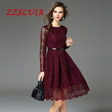Big sale casual solid color O neck long sleeve designer slim ball gown lace dresses 2017 new nice women's dresses 1903
