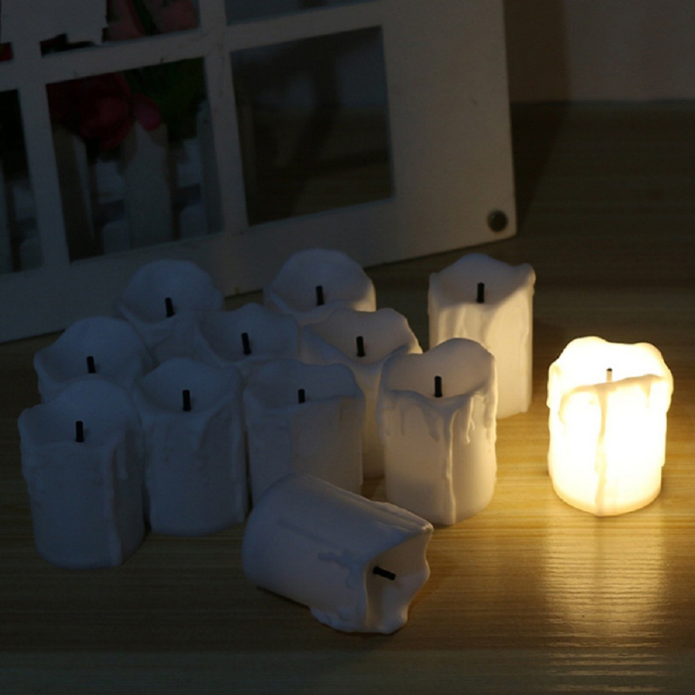 12 PCS of LED Electric Battery Powered Tealight Candles Warm White Flameless for Holiday/Wedding Decoration 3