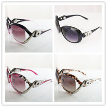 Woman Classic Big Sunglass Custom Snap Button Brand Designer Sunglasses Snap Glasses with two 20mm buttons KB9806(China)