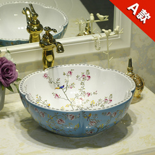 Ceramic Counter Top Wash Basin Cloakroom Hand Painted Vessel Sink bathroom sinks Flowers and birds pattern art wash basin