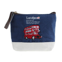 NewHot Sale New Fashion Coin Purse London Bus Embroidered Admission Package Canvas Handbag Brand New and High Quality