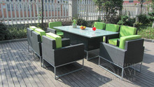 9 pcs Synthetic Rattan Garden Dining Sets , Cafe Balcony Chair Set transport by sea(China)