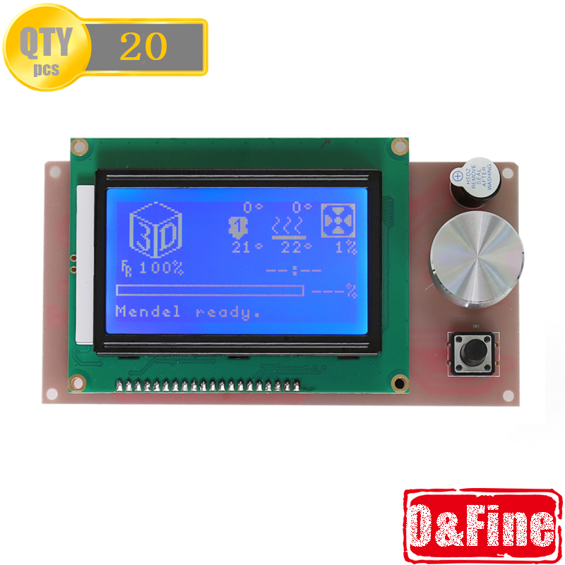 20PC/Lot Biggest LCD Screen 12864 for Anet A6 3D Printer With Blue Screen More Information Showing Easy control by Fedex &amp; DHL<br><br>Aliexpress