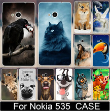 Cute Animal Bird eat The eyes Horse Cat Fox Dog Owl PC Paiting Cases For Microsoft Nokia Lumia 535 Mobile Phone Case Cover Shell