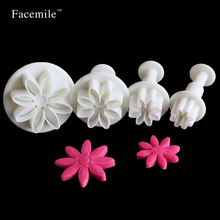 Cake Baking Cookie Mold Fondant Cake Tools 4Pcs Daisy Cake Biscuit Sugarcraft Cookies Plungers Paste Cutter Tools 01062(China)