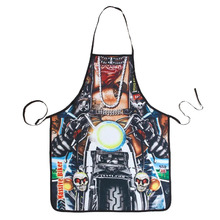 free shipping new Novelty Cooking Kitchen Motorcycle Man Print Sexy Apron Baking Present Pinafore Chef Funny cute kitchen aprons(China)
