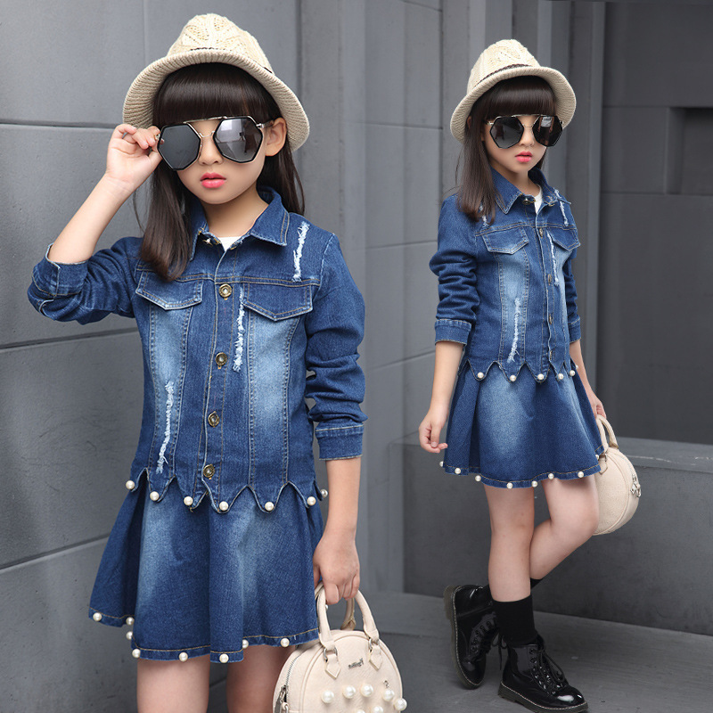 Autumn New Product Girl Cowboy Pearl Suit Childrens Garment Single Row Buckle Short Skirt Suit 2 Pieces Kids Clothing Sets<br>