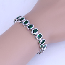 Love Monologue Flawless Green imitation Emerald Bracelets Chain Length 20CM B0069 Free Jewelry Bag