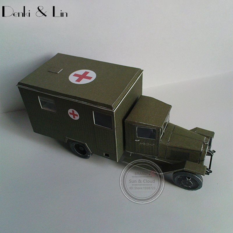 1:43 3D 14 X 6cm Soviet Zis-44 Battlefield Ambulance Army Truck Paper Model Second World War Assemble Hand Work Puzzle Game(China (Mainland))