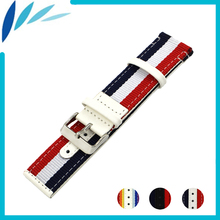 Nylon Nato Leather Watch Band 22mm 24mm for Movado Canvas Fabric Strap Wrist Loop Belt Bracelet Black White Red Blue + Pin +Tool(China)