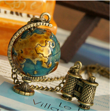 Antique Green Globe & Telescope Pendants Necklaces Chain For Women/Men Fashion Jewelry  C472