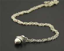 1pc Metal Alloy Silver Acorn Pendant Necklace DIY Handmade Living Plant For Women Gift E736
