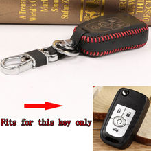 BBQ@FUKA Leather Red Thread Remote Key Holder Cover Case Keyfob Keychain key chains key ring Fit For Buick Excelle XT/GT Regal