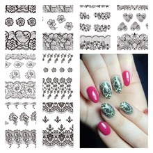 YZWLE 1 Sheet Optional Black Lace Designs Nail Art Water Decals Transfer Sticker