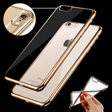 Hot ! Luxury Ultra Thin Crystal Clear TPU rubber electrolytic plating cell phone cover for iPhone7 7 Plus coverage phone cases