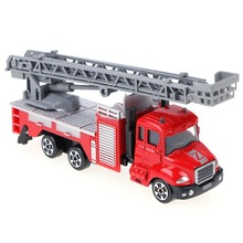 1:64 Scale Mini Fire Truck Toy Cars Alloy Engineering Car Educational Children Kid Vehicles Christmas Birthday Gift Red Toy Car
