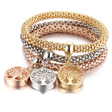 2017 New Style Hands Decorated Tree of Life Bracelets & Bangles Popcorn Shape Elastic Bracelet Tricolor/Set Fine Molian Jewelry(China)