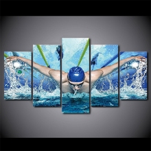 Pictures HD Printed Canvas Oil Posters Wall Art Frame For Living Room Decor 5 Pieces Swimming Pool Fitness Gym Painting Newest
