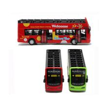 1XSightseeing City Tour Double Bus Toy Pull Back Action LED Light With Music