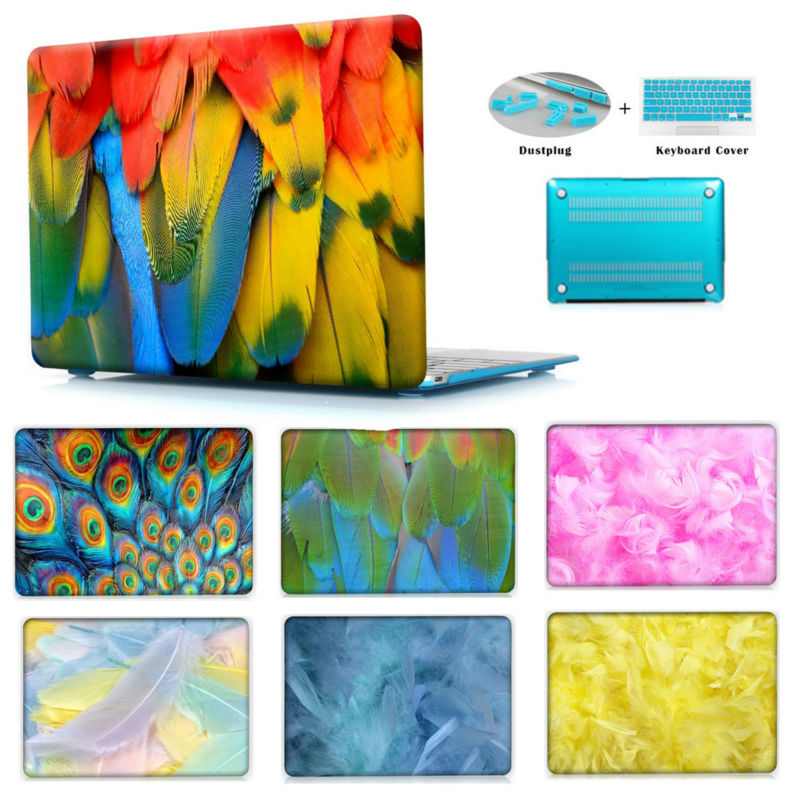 Feathers Pattern Air 11 Air 13 Pro 13 Pro 13 15 Retina 12 Rubberized Colored Painted Clear Hard Cover For Macbook Pro 13 15<br><br>Aliexpress