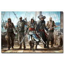 NICOLESHENTING Assassins Creed 3 4 Black Flag Art Silk Fabric Poster Huge 13x20 32x48 inches Game Pictures For Room Decor 045