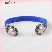 BOROSA Double Natural White Pearl Bangle Wrapped Blue Snakeskin Crystal Paved Zircon Women Pearl Bangles Design JAB367