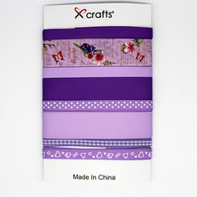 PPCrafts Purple Colors Satin/Grosgrain/Printed Ribbon Mixed Set for Baby's Hair Bows Making Tape 1yard/color