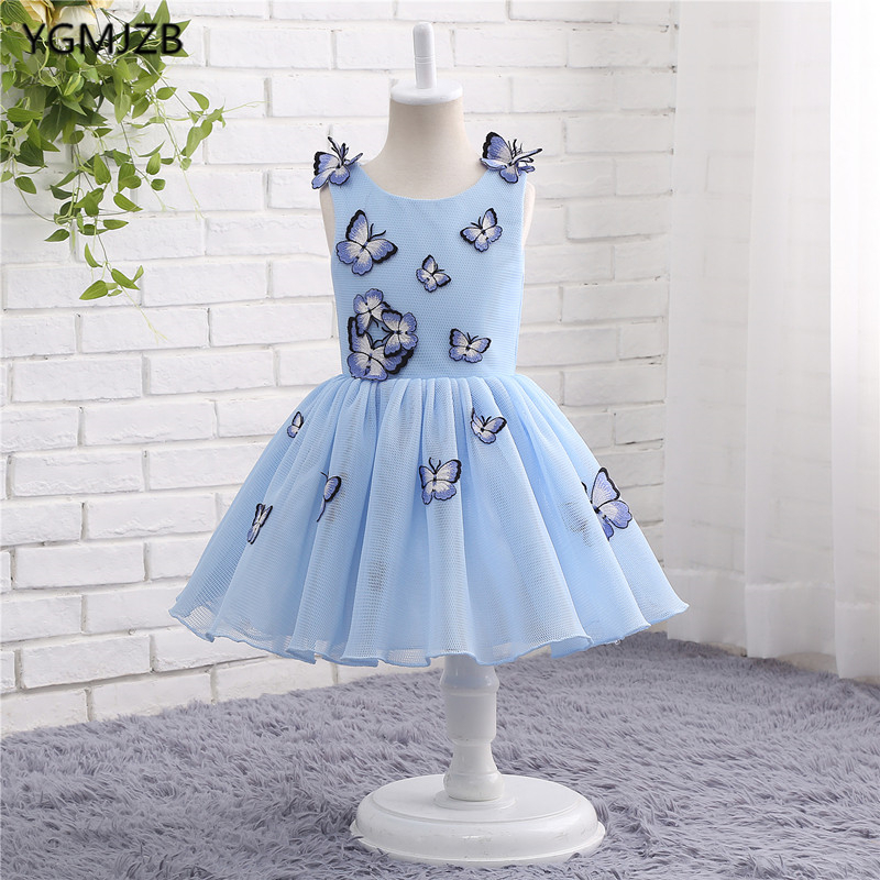 Lovely Baby Blue Pageant Ball Gown Flower Girl Dresses for Weddings First Communion Dresses Prom Dress Evening Gown