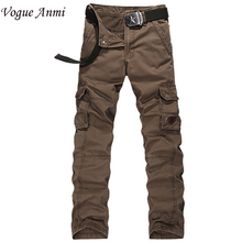 Vogue Anmi New Men Cargo Pants army brown black big pockets decoration Casual easy wash male AUTUMN pants Size 30-40