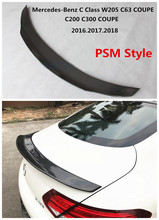 Car Carbon Fiber Spoiler For Mercedes-Benz C Class W205 C63 COUPE C200 C300 2016.2017.2018 Wing Spoilers PSM Style Accessories
