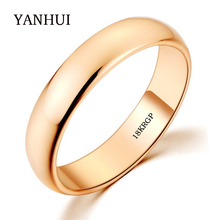 BIG OFF SALE 18KGP Stamp Real Solid Gold Ring 5mm Wide Pure White/Rose Gold Solitaire Rings Wedding Jewelry For Women and Men(China)